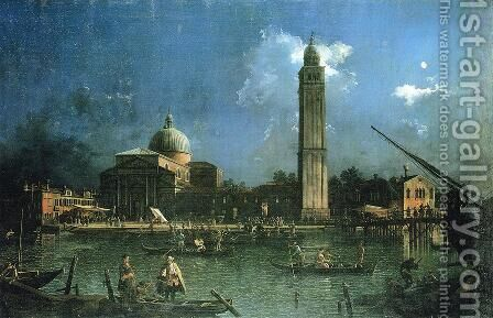 Night-time Celebration Outside the Church of San Pietro di Castello by (Giovanni Antonio Canal) Canaletto - Reproduction Oil Painting