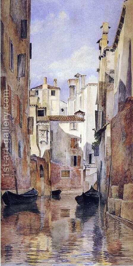 Venetian Canal Scene by Henry Roderick Newman - Reproduction Oil Painting