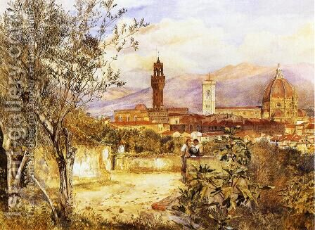 View of the Duomo fro the Mozzi Garden, Florence by Henry Roderick Newman - Reproduction Oil Painting