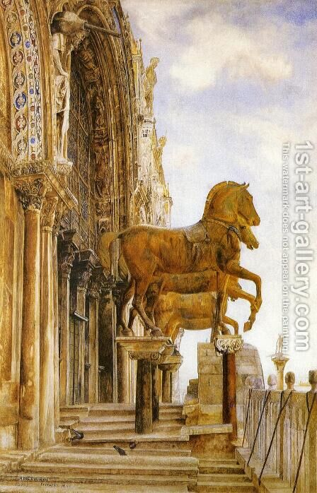 The Horses of St. Mark's by Henry Roderick Newman - Reproduction Oil Painting