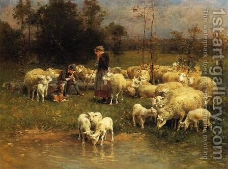 Guarding the Flock by Charles Émile Jacque - Reproduction Oil Painting