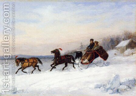 Sleigh Scene by Cornelius David Krieghoff - Reproduction Oil Painting