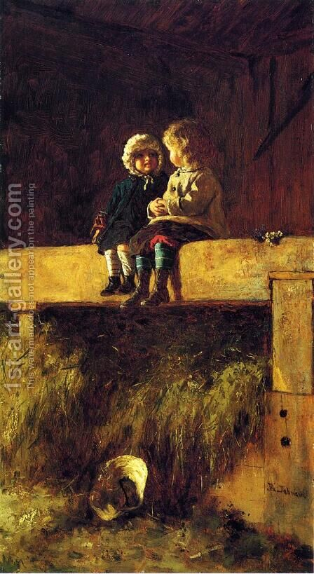 The Confab by Eastman Johnson - Reproduction Oil Painting