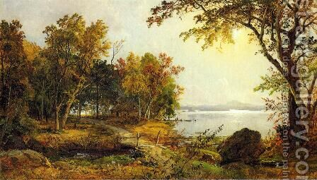 A Cabin on Greenwood Lake by Jasper Francis Cropsey - Reproduction Oil Painting