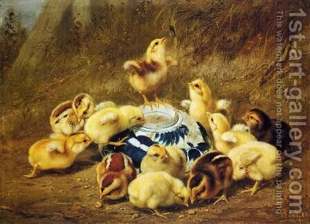 Chicks and Delft Bowl by Arthur Fitzwilliam Tait - Reproduction Oil Painting