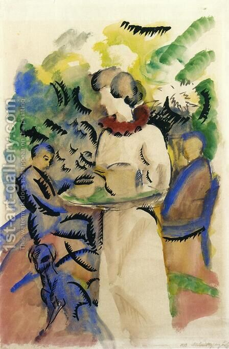 Afternoon in the Garden by August Macke - Reproduction Oil Painting