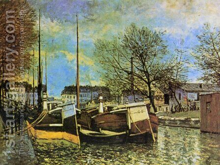 Barges on the Saint-Martin Canal by Alfred Sisley - Reproduction Oil Painting