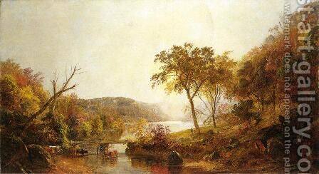 Autumn on Ramapo River, New Jersey by Jasper Francis Cropsey - Reproduction Oil Painting