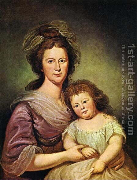 Mrs. Thomas Leiper and Her Daughter, Helen Hamilton Leiper by Charles Willson Peale - Reproduction Oil Painting