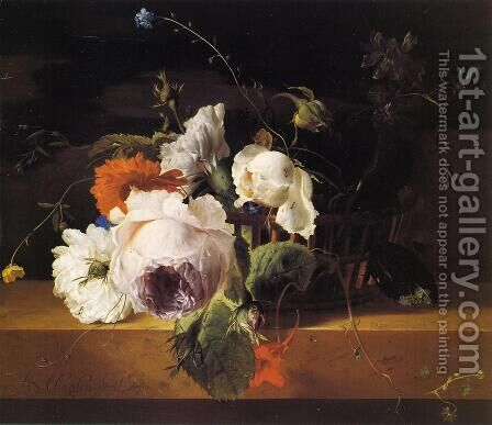 Roses, Carnations, and Assorted Wildflowers in a Basket on a Marble Ledge by Arthur Chaplin - Reproduction Oil Painting
