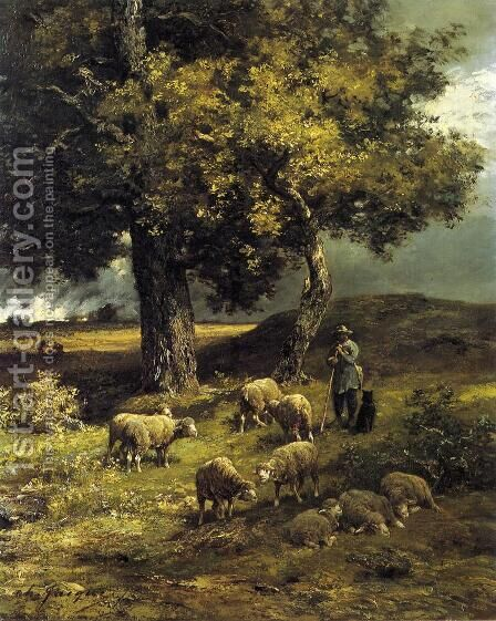 Tending the Flock I by Charles Émile Jacque - Reproduction Oil Painting