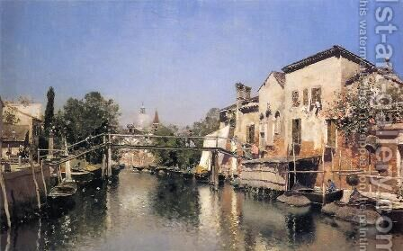 Venetian Canal Scene by Martin Rico y Ortega - Reproduction Oil Painting
