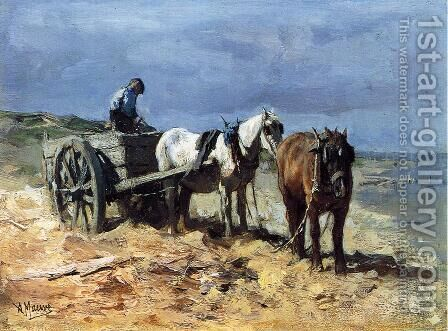 A Team and Pull-cart by Anton Mauve - Reproduction Oil Painting