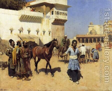 Horse Market, Persian Stables, Bombay by Edwin Lord Weeks - Reproduction Oil Painting