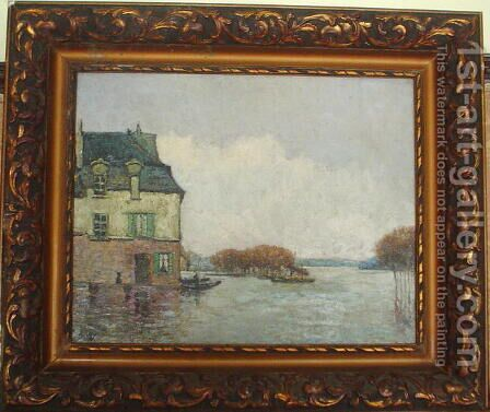 Inodation, Flood (Forgery?) by Alfred Sisley - Reproduction Oil Painting