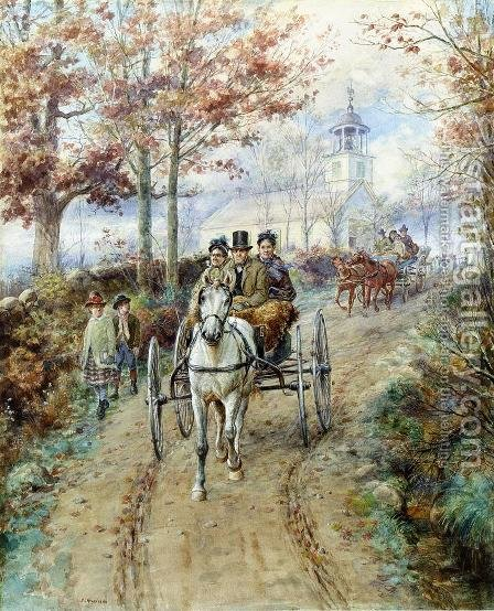 Carriage Ride by Edward Lamson Henry - Reproduction Oil Painting
