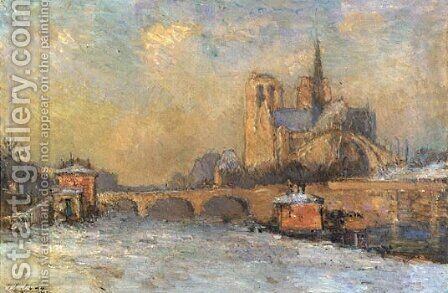 Notre-Dame and Seine, Winter by Albert Lebourg - Reproduction Oil Painting