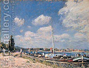 Unloading the Barges at Billancourt by Alfred Sisley - Reproduction Oil Painting
