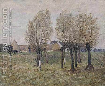 A Normandy Farm by Alfred Sisley - Reproduction Oil Painting