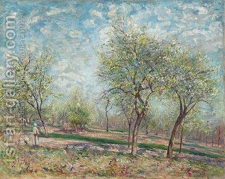 Apple Trees in Bloom by Alfred Sisley - Reproduction Oil Painting