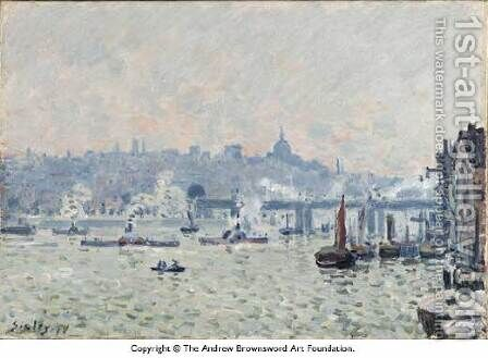 View of the Thames: Charing Cross Bridge by Alfred Sisley - Reproduction Oil Painting