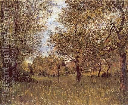 The Small Meadow at By by Alfred Sisley - Reproduction Oil Painting