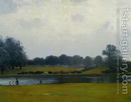 The Serpentine, Hyde Park, London by Giuseppe de Nittis - Reproduction Oil Painting