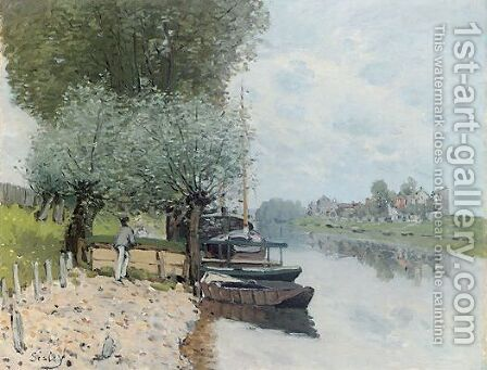 The Seine at Bougival IV by Alfred Sisley - Reproduction Oil Painting