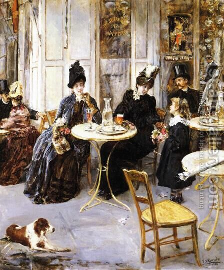 A Parisian Cafe by Eduardo León Garrido - Reproduction Oil Painting