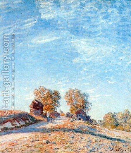 Hill Path in Sunlight by Alfred Sisley - Reproduction Oil Painting