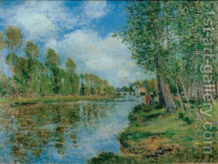 Banks of the Loing II by Alfred Sisley - Reproduction Oil Painting