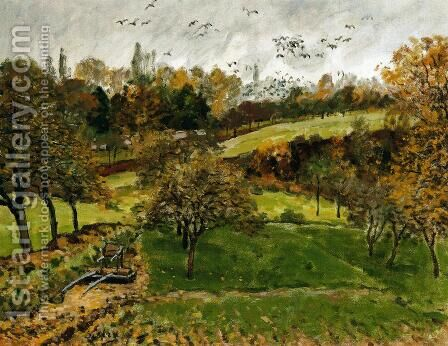 Autumn Landscape, Louveciennnes by Alfred Sisley - Reproduction Oil Painting