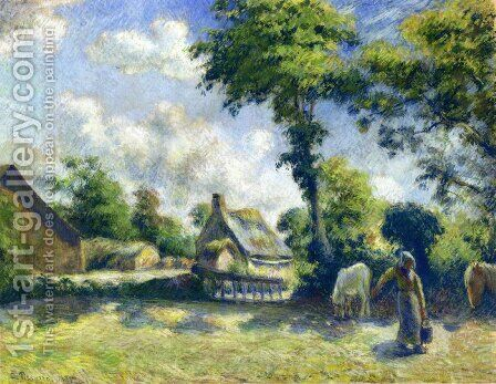 Landscape at Melleray, Woman Carrying Water to Horses by Camille Pissarro - Reproduction Oil Painting