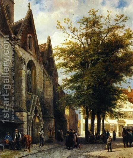 St. Joseph's Church in Hamelen by Cornelis Springer - Reproduction Oil Painting