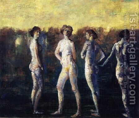 Four Figures by Arthur Bowen Davies - Reproduction Oil Painting