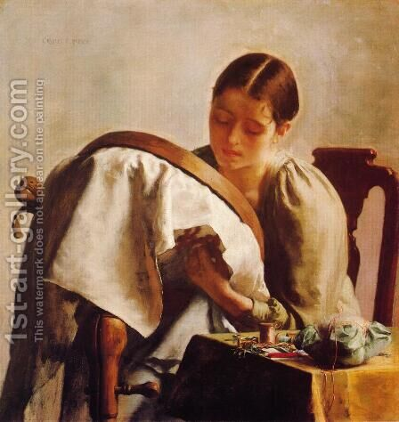 Young Girl Embroidering by Charles Frederick Ulrich - Reproduction Oil Painting