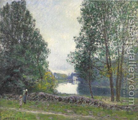 Banks of the Loing, Winter by Alfred Sisley - Reproduction Oil Painting