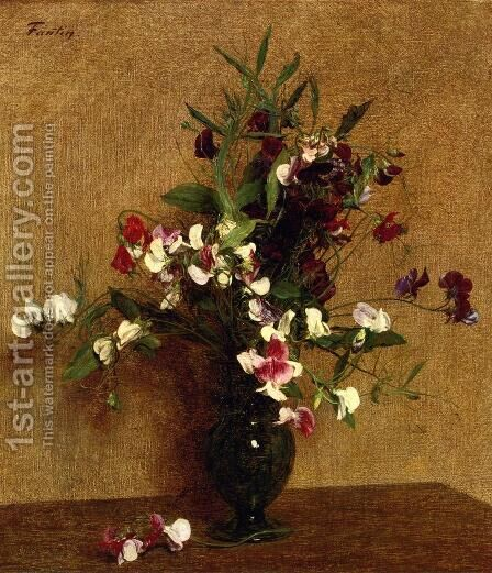 Sweet Peas in a Vase by Ignace Henri Jean Fantin-Latour - Reproduction Oil Painting