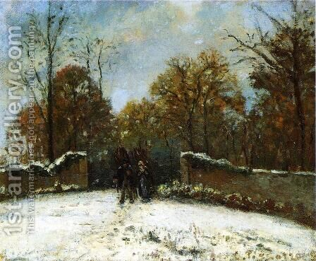 Entering the Forest of Marly (Snow Effect) by Camille Pissarro - Reproduction Oil Painting