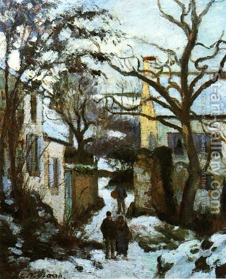 The Road to L'Hermitage in Snow by Camille Pissarro - Reproduction Oil Painting