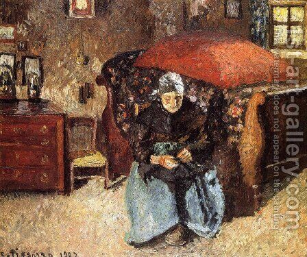 Elderly Woman Mending Old Clothes, Moret by Camille Pissarro - Reproduction Oil Painting