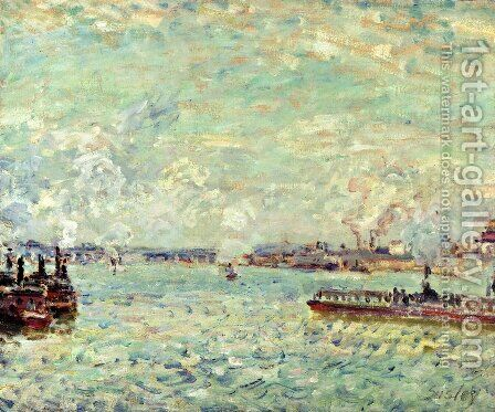 The Seine at Point du Jour by Alfred Sisley - Reproduction Oil Painting