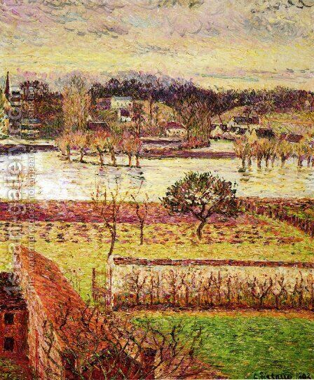 Flood, Twilight Effect, Eragny by Camille Pissarro - Reproduction Oil Painting