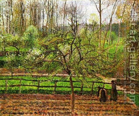 Spring, Gray Weather, Eragny by Camille Pissarro - Reproduction Oil Painting