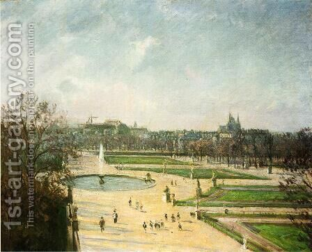 The Tuileries Gardens, Afternoon, Sun by Camille Pissarro - Reproduction Oil Painting