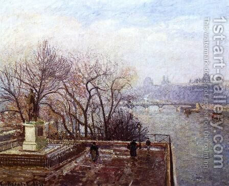 The Louvre, Morning, Mist by Camille Pissarro - Reproduction Oil Painting