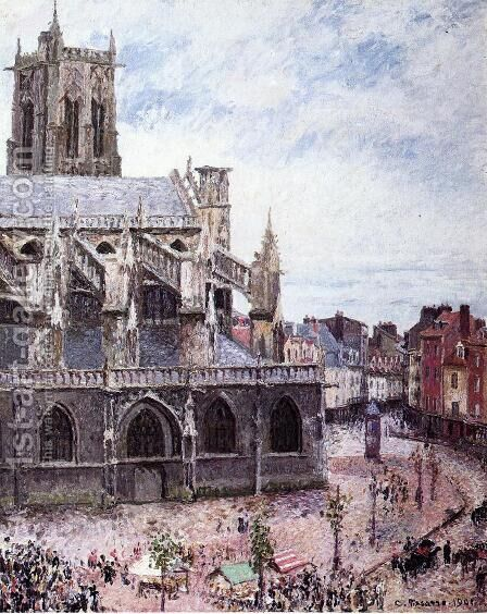 The Church of Saint-Jacues, Dieppe, Rainy Weather by Camille Pissarro - Reproduction Oil Painting