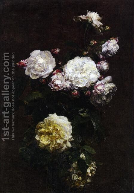 White Roses II by Ignace Henri Jean Fantin-Latour - Reproduction Oil Painting