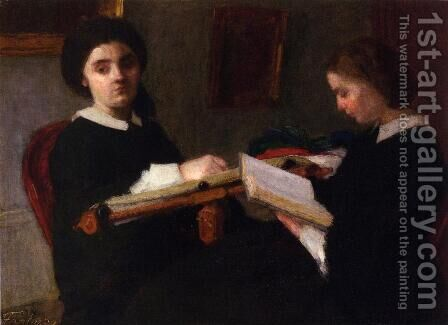 Two Young Women, Embroidering and Reading by Ignace Henri Jean Fantin-Latour - Reproduction Oil Painting