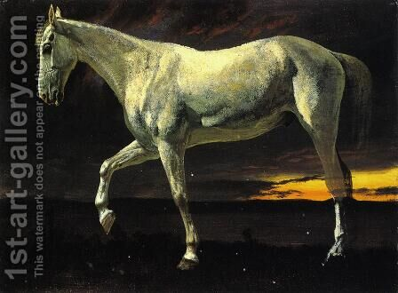 White Horse and Sunset by Albert Bierstadt - Reproduction Oil Painting